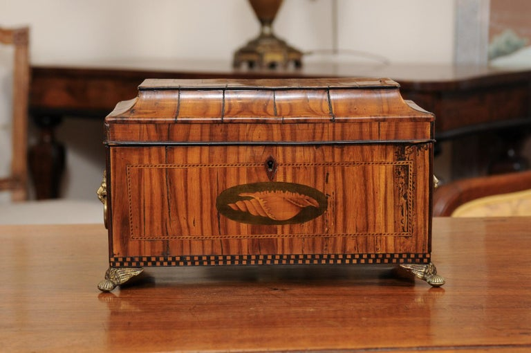 English George III Olive Wood and Shell Inlaid Letter Box, Early 19th Century For Sale 9