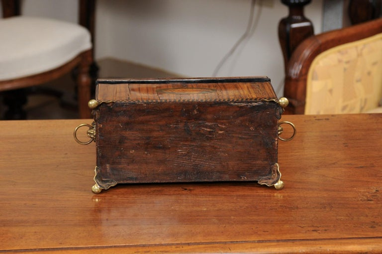 English George III Olive Wood and Shell Inlaid Letter Box, Early 19th Century For Sale 11