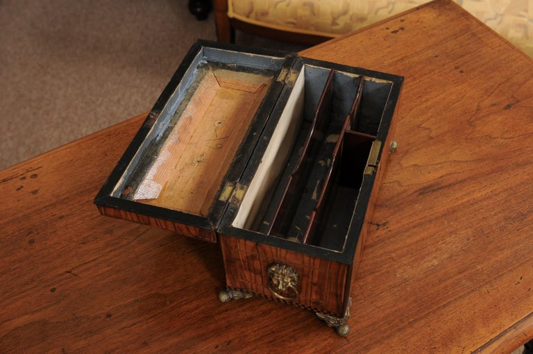 English George III Olive Wood and Shell Inlaid Letter Box, Early 19th Century For Sale 1