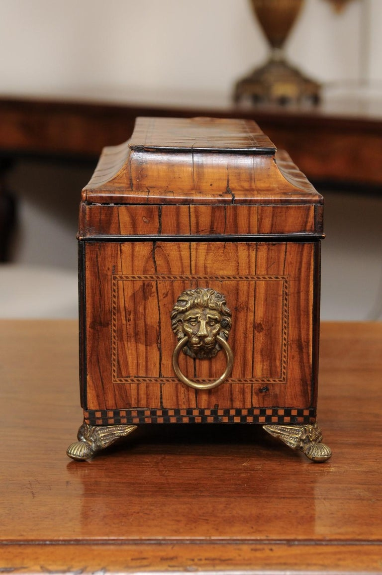 English George III Olive Wood and Shell Inlaid Letter Box, Early 19th Century For Sale 2