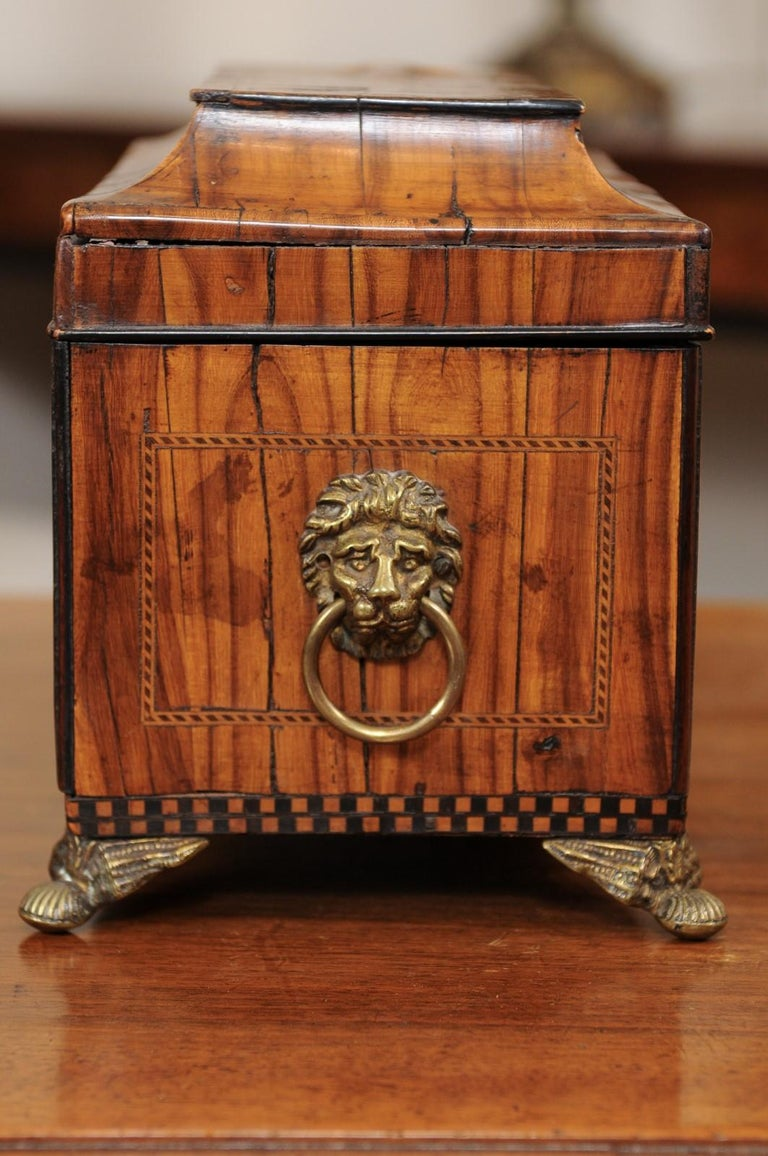 English George III Olive Wood and Shell Inlaid Letter Box, Early 19th Century For Sale 3