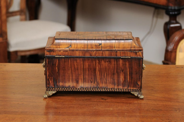 English George III Olive Wood and Shell Inlaid Letter Box, Early 19th Century For Sale 5