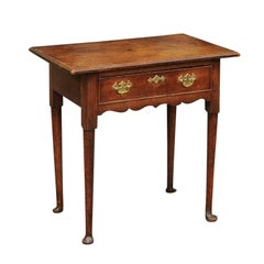 English George III Period 1800s Oak Side Table with Single Drawer and Pad Feet