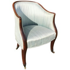 English George III Period Mahogany Library Tub Chair
