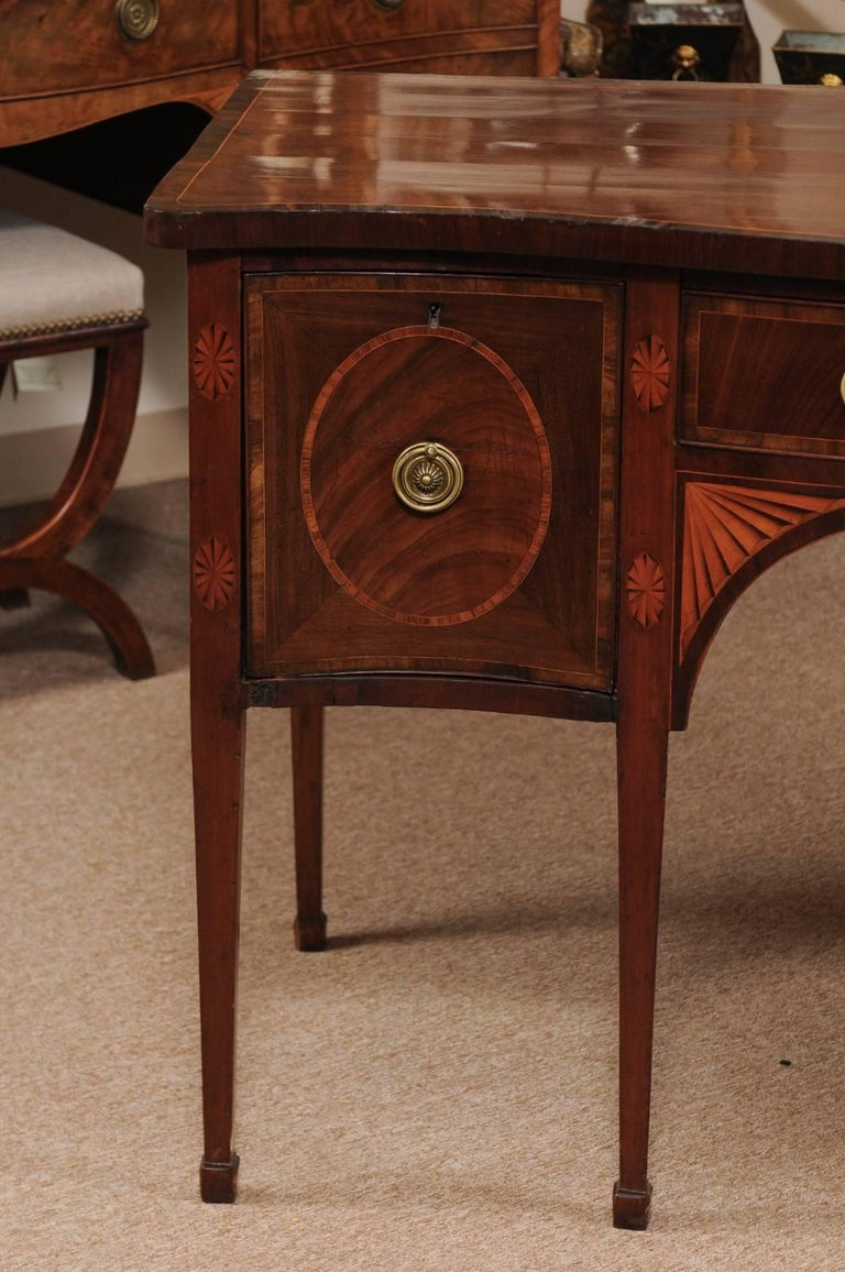 Early 19th Century English George III Period Serpentine Inlaid Sideboard in Mahogany, ca. 1800 For Sale