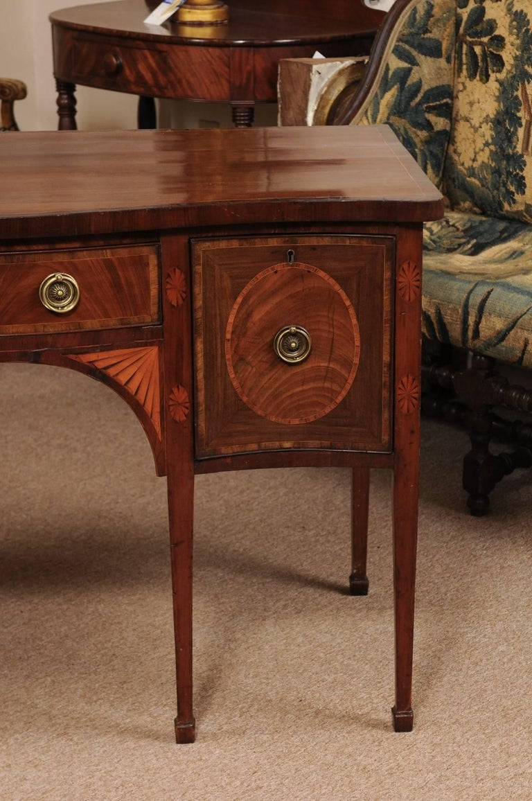 Brass English George III Period Serpentine Inlaid Sideboard in Mahogany, ca. 1800 For Sale