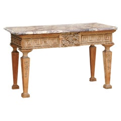English George III Pine Marble Top Carved Greek Key Console Table, ca. 1790