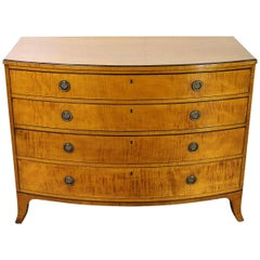 English George III Satinwood Bow Fronted Chest Commode, circa 1790