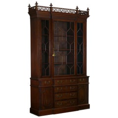 English George III Style Breakfront Bookcase Cabinet, circa 1880