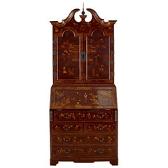 English George III Style Chinoiserie Lacquered Secretaire