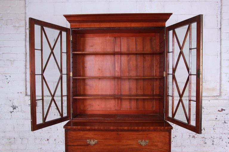 Georgian English George III Style Drop Front Secretary Desk with Bookcase, circa 1870 For Sale