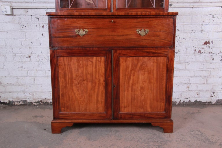 English George III Style Drop Front Secretary Desk with Bookcase, circa 1870 In Good Condition For Sale In South Bend, IN