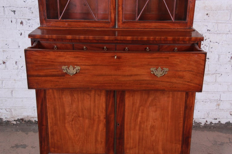 19th Century English George III Style Drop Front Secretary Desk with Bookcase, circa 1870 For Sale