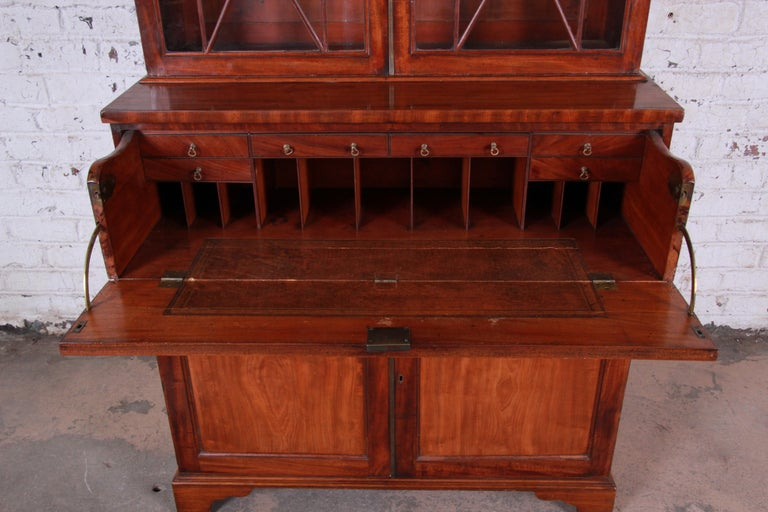 Leather English George III Style Drop Front Secretary Desk with Bookcase, circa 1870 For Sale