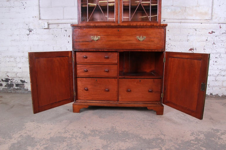 English George III Style Drop Front Secretary Desk with Bookcase, circa 1870 For Sale 2