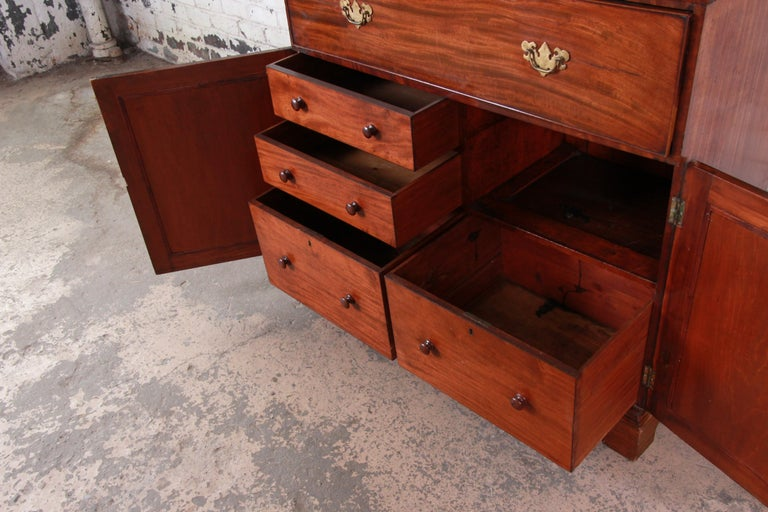 English George III Style Drop Front Secretary Desk with Bookcase, circa 1870 For Sale 3