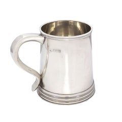 English George III Style Sterling Silver Antique Tankard Mug, circa 1907-1908