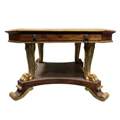 English George IV Mahogany and Parcel Gilt Center or Library Table, circa 1840