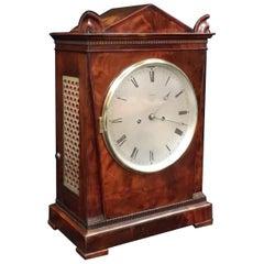 English George IV Mahogany Bracket Clock by Hampson & Son