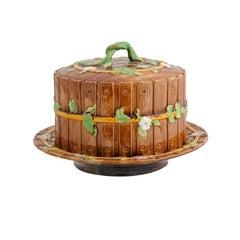 English George Jones 19th Century Majolica Cake Plate with Twig Handle and Slats