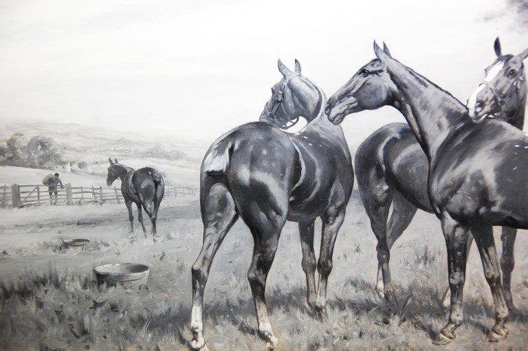 English original oil on canvas in grisaille