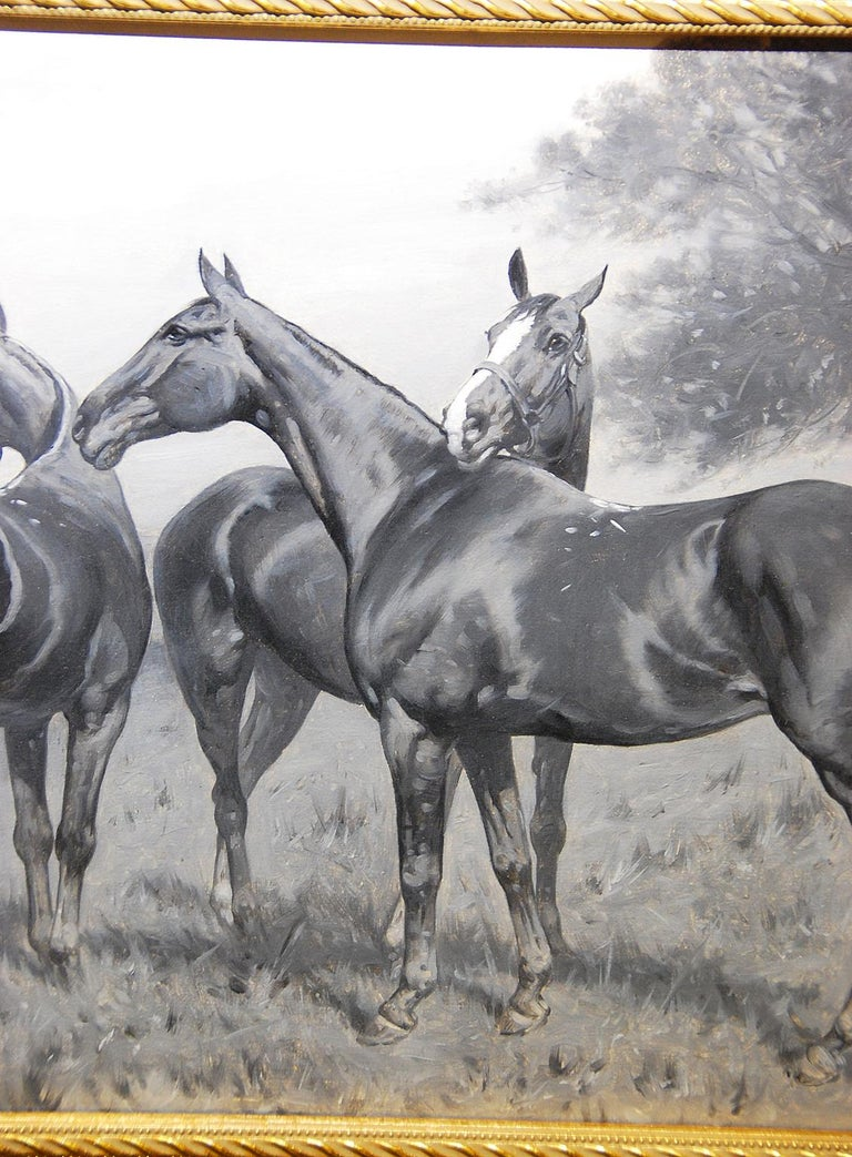 Sporting Art English George Wright Horses in a Field Original Oil Painting For Sale