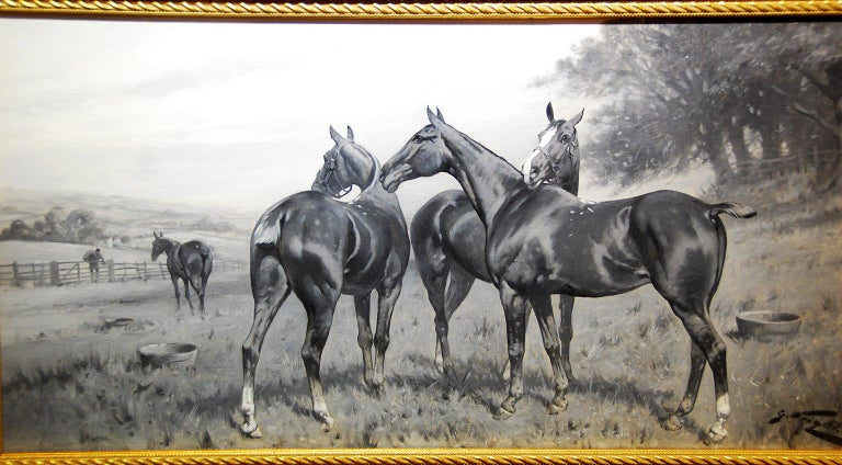 19th Century English George Wright Horses in a Field Original Oil Painting For Sale