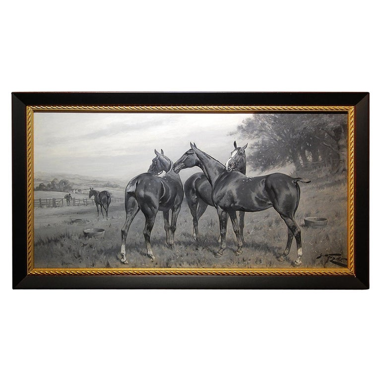 English George Wright Horses in a Field Original Oil Painting For Sale