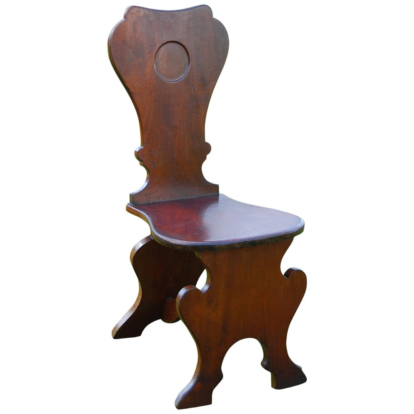 English Georgian 18th Century Chippendale Period  Mahogany Hall Chair