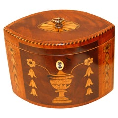 English Georgian 18th Century Oval Tea Caddy with Urn, Flower & Husk Inlays