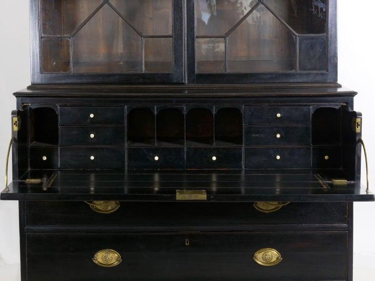 English Georgian Antique Butler's Secretary Desk with Bookcase, 19th Century For Sale 8