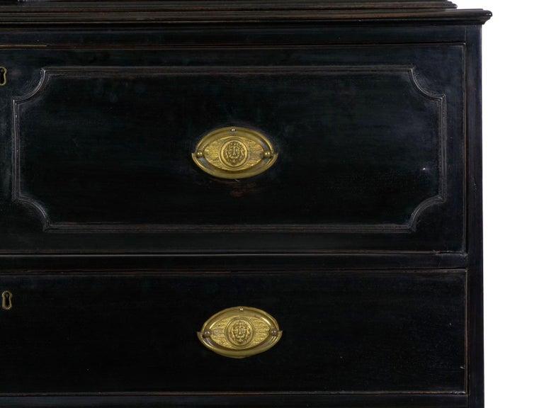 English Georgian Antique Butler's Secretary Desk with Bookcase, 19th Century For Sale 11