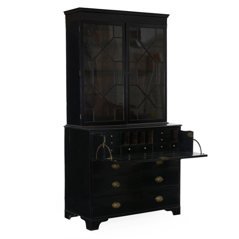 Brass English Georgian Antique Butler's Secretary Desk with Bookcase, 19th Century For Sale