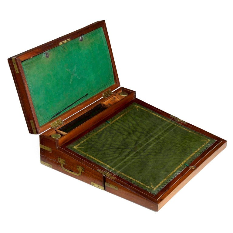 "English Georgian Brass-Bound Mahogany ""Captain's Box"" Writing Slope, circa 1810"