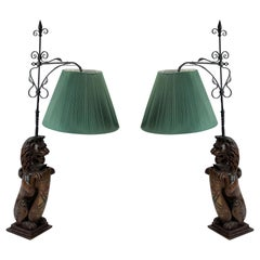 English Georgian Carved Oak Lion Table Lamps