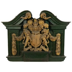 English Georgian Carved Wooden Unicorn and Lion Coat of Arms