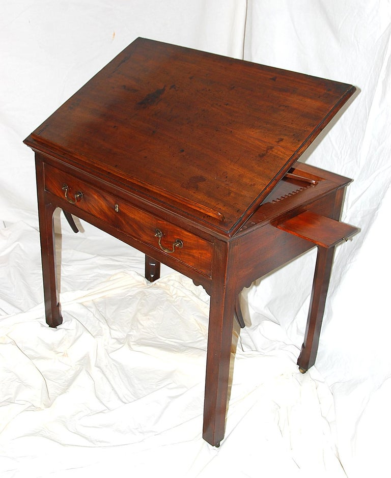 English Georgian Chippendale Mahogany Architect's Table with Candle Slides For Sale 5