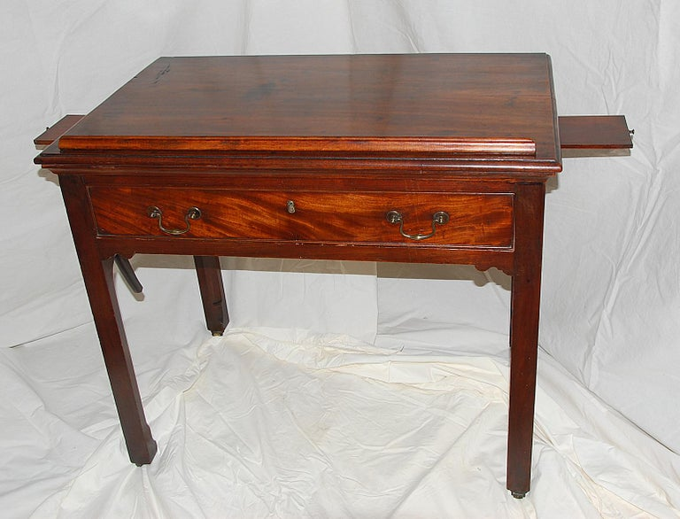 Late 18th Century English Georgian Chippendale Mahogany Architect's Table with Candle Slides For Sale