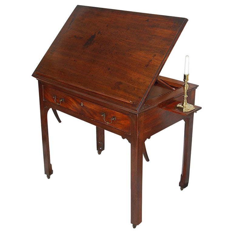 English Georgian Chippendale Adjustable Architect's Table in Mahogany For Sale