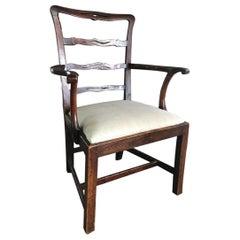 English Georgian Chippendale Ladderback Armchair, 18th Century