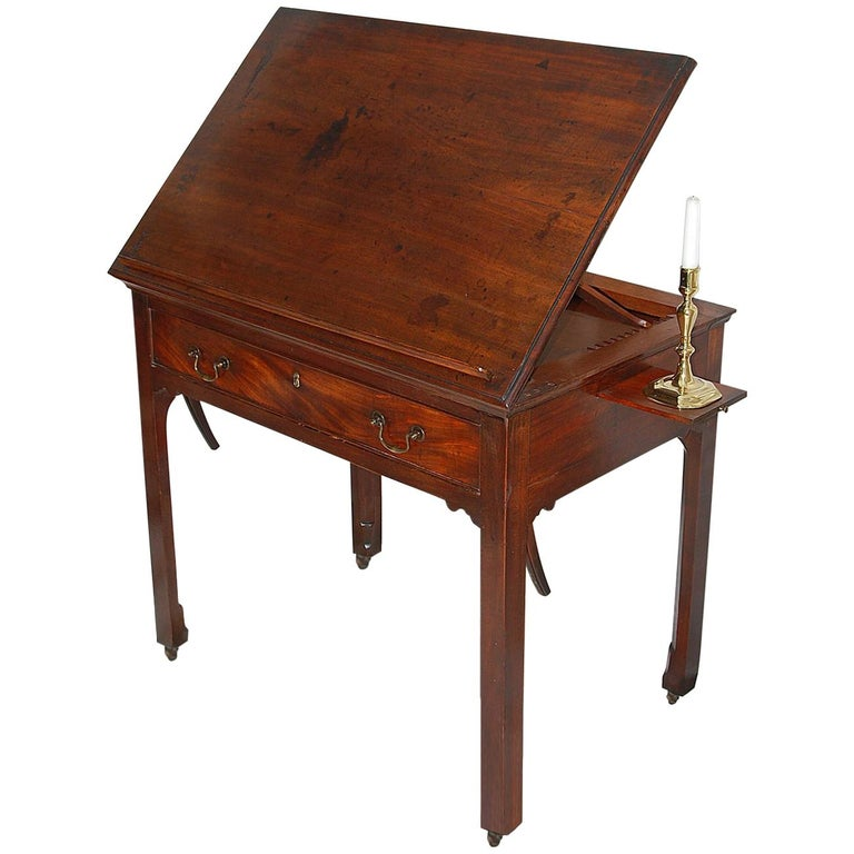 English Georgian Chippendale Mahogany Architect's Table with Candle Slides For Sale