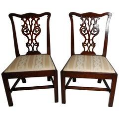 English Georgian Chippendale Mahogany Pair of Chairs