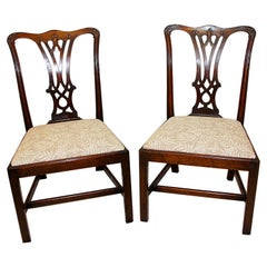 English Georgian Chippendale Pair of Mahogany Carved Sidechairs with Slip Seats