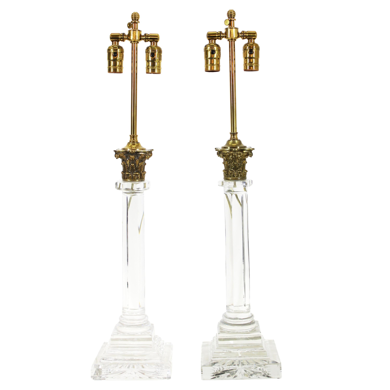 English Georgian Cut Glass Column Table Lamps