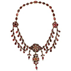 English Georgian Festoon Almandine Garnet Necklace