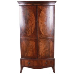 English Georgian Flame Mahogany Linen Press or Armoire, circa 1800