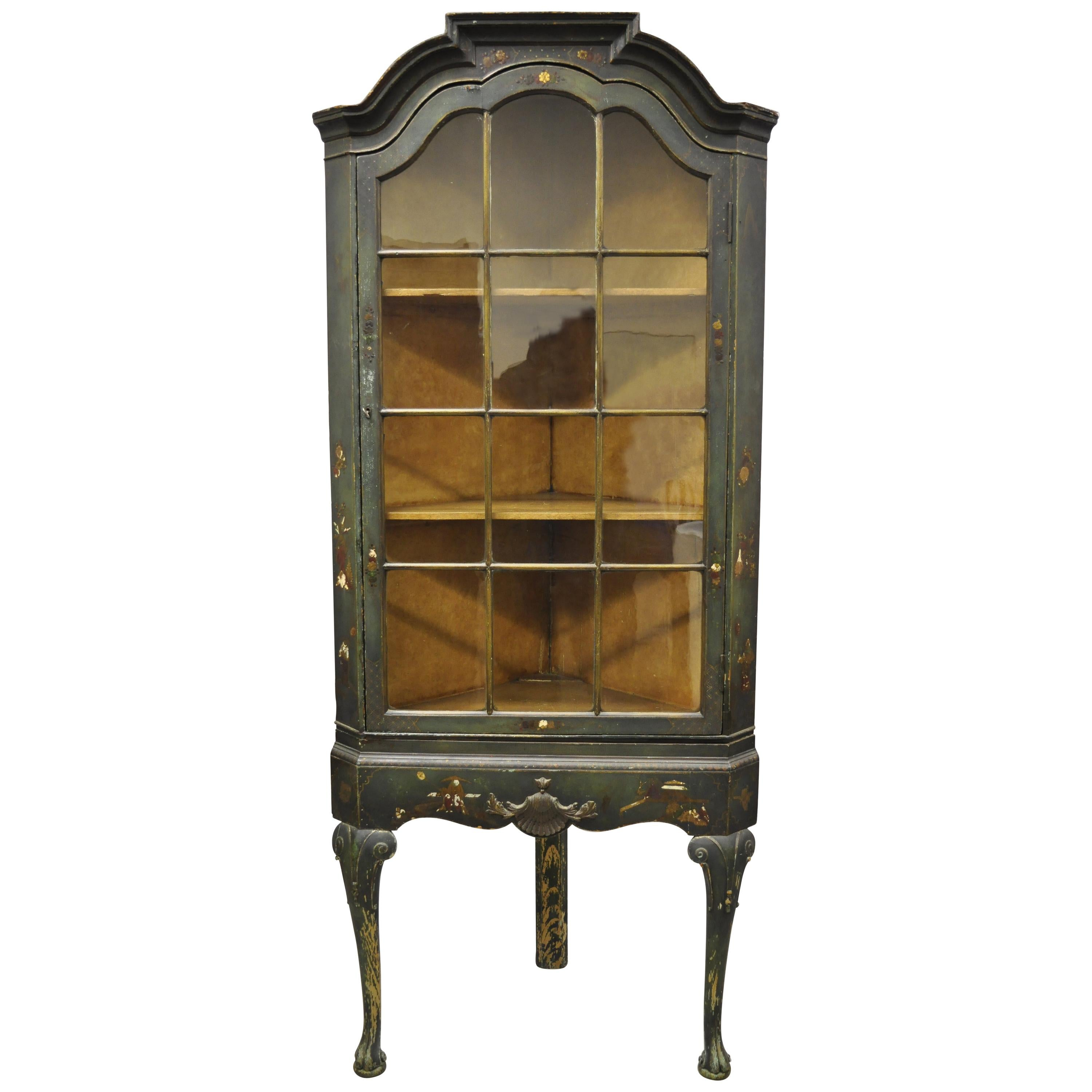 English Georgian Green Distress Painted Queen Anne Corner China Cabinet Curio
