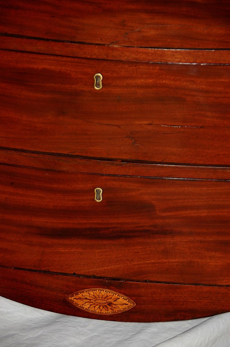 18th Century English Georgian Hepplewhite Period Mahogany Bowfront Chest with Dressing Slide For Sale