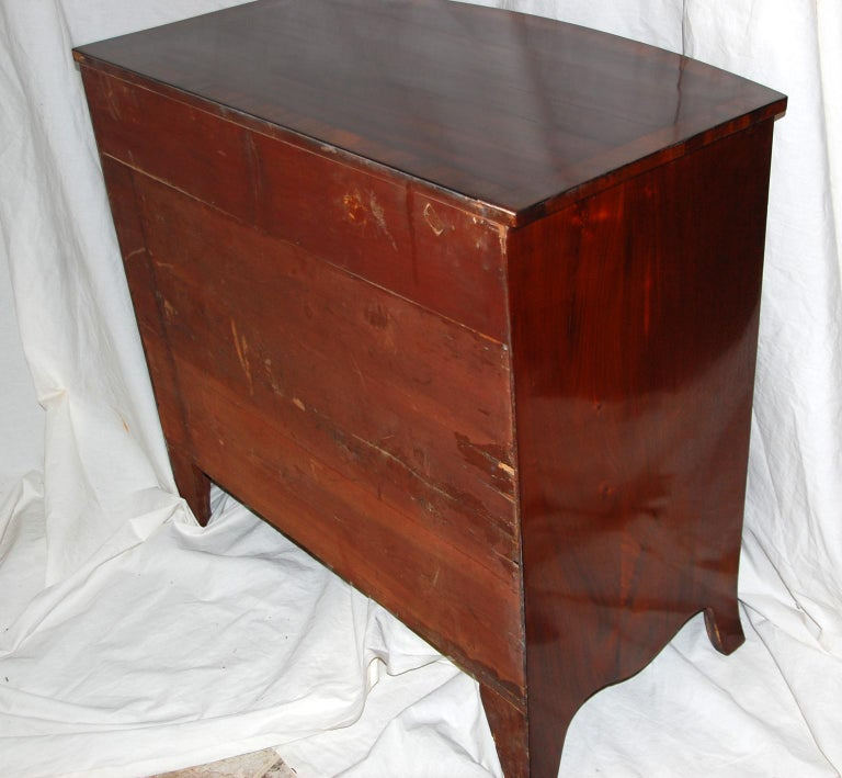 English Georgian Hepplewhite Period Mahogany Bowfront Chest with Dressing Slide For Sale 3