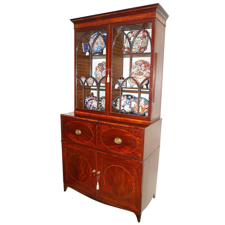 English Georgian Hepplewhite Period Secretaire Bookcase, Glazed Doors, Mahogany For Sale